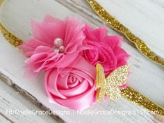 Hot Pink & Gold Butterfly Flower Headband | baby, girl, newborn, hair, accessories, bow, toddler, glitter, butterflies, pink, shower gift