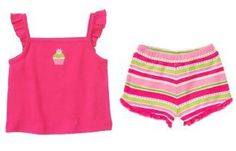Gymboree Ice Cream Sweetie Cupcake Top and Striped Shorts $11.95
