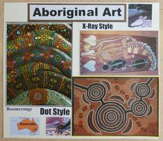 Australian aboriginal art styles: dot and x ray