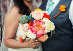 Colorful wedding bouquet | photo by Paige Newton | 100 Layer Cake