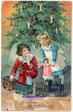 1909 Large Toy Train Doll Christmas Postcard | eBay