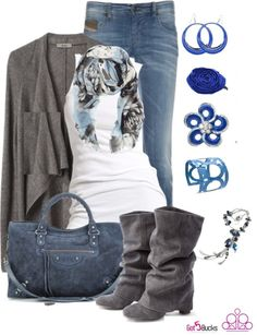 These accessories make this soft grey stand up and say YEAH! Our $5 accessories make this grey turn blue! Love this shade, blue is my favorite color, whats yours?? Contact me for these great accessories! www.brookespaparazziaccessories.weebly.com