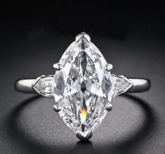 fe5db87c685e 5.06 Ct Marquise Near White Diamond 3-Stone Engagement RIngs 925 Sterling  Silver