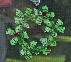 Sea Glass Wreath Ornament or Sea Glass Suncatcher by oceansbounty