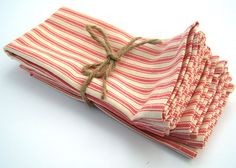 Set of Eight - Red French Ticking Cloth Napkins. $40.00, via Etsy.