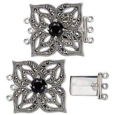 Clasp, 3-strand tab, Signity® marcasite (natural) / garnet (imitation) / antiqued sterling silver, 24x24mm flower with cutout petals. Sold individually.