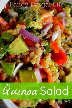 Fancy Frugal Life: Avocado, Corn, Cilantro & Lime Quinoa Salad ** add a jalepeno and extra spice**