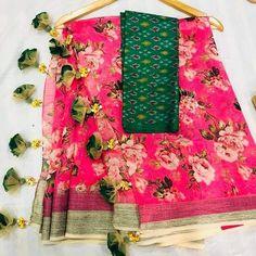 *#Floral #organza #sarees with #beautiful #tassels @ 6250+$* Shr