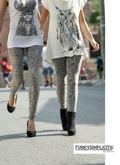 Grey snake and Grey giraffe leggings. Fantastic for any style, casual chic to dance, yoga, sports or just hanging out on the couch in your fav leggings as they are too comfy to take off <3