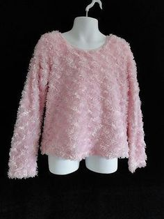 Size 6/6X  Girls ~ *Faded Glory - Light Pink Fuzzy Long Sleeve Sweater BTS