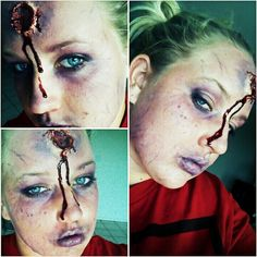 Bullet wound Halloween makeup.