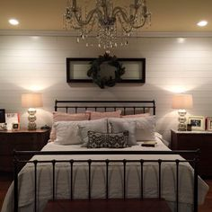 Wall bedroom, ship lap accent wall, bedroom ideas, bedroom colors, co Farmhouse Master Bedroom, Master Bedroom Design, Home Bedroom, Bedroom Ideas, Master Suite, Bedroom Furniture, Bedroom 2018, Budget Bedroom, Modern Bedroom