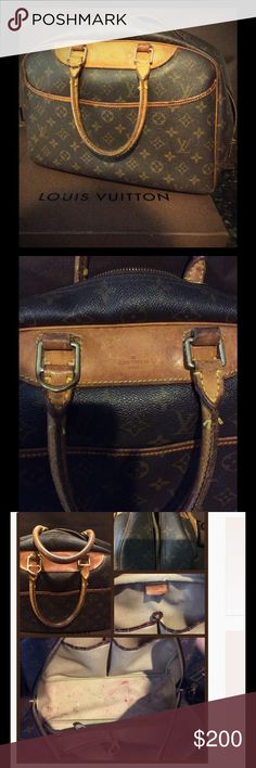 "Louis Vuitton Deauville Monogram Travel Bag Authentic travel bag designed to keep beauty products organized. Lots of wear and use. Flaws shown as pictured - the ""major"" flaw would be the zipper coming off the bag a little when you go to zip it - 2nd pic upper left corner and last pic. Good bag at a great price! Feel free to ask any questions! I listed the price wrong originally. The other price was for a different handbag. Sorry about that. I posted pic of tag, barely visible, hope this…"