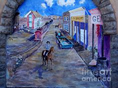 Street wall mural of an old western town. Buy prints at eva-kato.artistwebsites.com