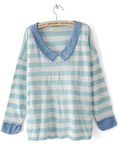 Turquoise White Striped Long Sleeve Denim Sweater