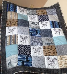 Baby blanket embroidered baby quilt deer quilt by ohSEWcuddly
