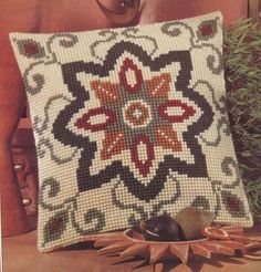 Geometric Mini Embroidered Cushion Tapestry Kit Morris and Sons Cross Stitch Borders, Cross Stitch Kits, Cross Stitch Designs, Cross Stitching, Cross Stitch Embroidery, Cross Stitch Patterns, Embroidered Cushions, Crochet Cushions, Cross Stitch Cushion