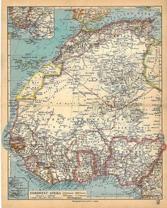 1928 North West Africa Vintage Map
