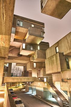 Habitat or simply Habitat, is a model community and housing complex in Montreal, Canada designed by Israeli–Canadian architect Moshe Safdie. Its interlocking forms, connected walkways and landscaped terraces were key in achieving Safdie Architecture Design, Beautiful Architecture, Beautiful Buildings, Contemporary Architecture, Landscape Architecture, Montreal Architecture, Architecture Diagrams, Architecture Portfolio, Classical Architecture