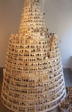 Lothar Osterburg, Tower of Babel , wood, matboard, found book pages 122 x 72 x 72 inches Sculptures Céramiques, Book Sculpture, Architectural Sculpture, Architectural Models, Architectural Drawings, Tower Of Babel, Contemporary Sculpture, Fantasy Inspiration, Ancient Civilizations