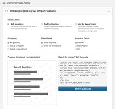 Workable. Zoom sur le widget de job list : Intégration + Preview