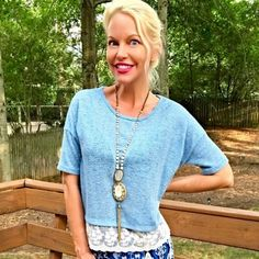 Gorgeous! Pale blue and ivory top! Beautiful color - perfect for summer- scalloped lace hemline!  Follow me on Instagram @kfab333 for more items😊 Tops