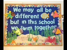 "Ocean bulletin board - so cute! Maybe with ""Rainbow Fish"" lesson?"