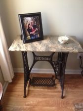wrought iron sewing machine base with marble top - Google Search