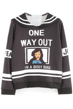 #Spring #AdoreWe #Oasap - #oasap Color-Blocked Graphic Long-Sleeve Sweatshirt - AdoreWe.com