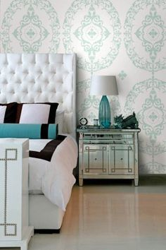 LIKE: colors, sophisticated, clean lines, bold pattern // clean adult bedroom ideas