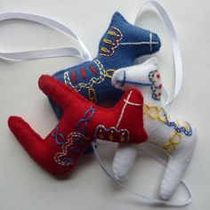 Embroidered dala horse ornaments.