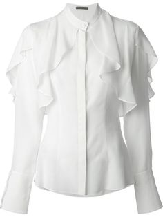 Alexander McQueen collarless white blouse with soft feminine petal shoulder details. Mode Batik, Mode Outfits, Fashion Outfits, White Cotton Blouse, White Silk, White White, White Tops, Ruffle Blouse, Banded Collar Shirts