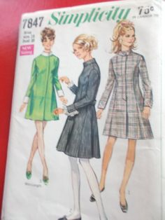 UNCUT and FF Pieces Vintage Simplicity 7847 Sewing Pattern Size 16 1960s Dress in Two Lengths