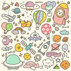 Set of Cute Air Transportation and Other Flying Objects Doodle: comprar este vector de stock y explorar vectores similares en Adobe Stock Cute Easy Drawings, Cute Kawaii Drawings, Kawaii Art, Kawaii Doodles, Cute Doodles, Food Doodles, Doodle Drawings, Doodle Art, Space Doodles
