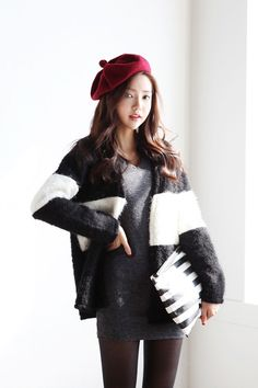 Two Color Furry Open Cardigan