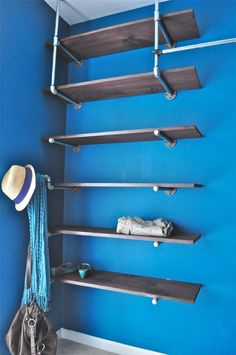 How to build a super chic & functional closet organizer out of steel plumbing pipes, fittings, and wood.