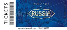 Welcome to Russia text gold logo, invitation, world cup ticket abstract 2017-18 background Russian folk art tradition elements ornament, sport award, soccer ball, travel, blue pattern vector template