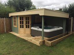 Stig Log Cabin With Side Porch - It's getting closer to summer – Are you ready yet? There's still plenty of time to prepare - Hot Tub Gazebo, Hot Tub Backyard, Hot Tub Garden, Backyard Sheds, Corner Summer House, Summer House Garden, Pergola, Garden Bar Shed, Spa Sauna