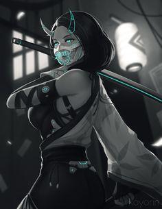 Enforcer by Koyorin on DeviantArt Girls Characters, Fantasy Characters, Female Characters, Anime Characters, Cyberpunk Girl, Arte Cyberpunk, Anime Demon, Manga Anime, Anime Art