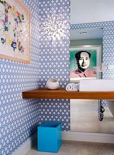 Hicks Hexagon wallpaper in Pale Blu & White by Cole & Son