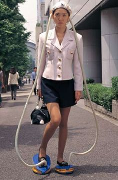 STRANGE JAPANESE PRODUCTS - FOOT POWERED HAIR DRYER - DRIES YOUR HAIR AS YOU WALK TO WORK! Time saver? Lollolololol