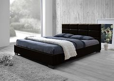 Baxton Studio Vivaldi Modern and Contemporary Dark Brown Faux Leather Padded Platform Base Full Size Bed Frame