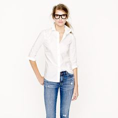 Jcrew is the go-to brand for classic white oxford shirts. They have many styles specific for a girl's shape.
