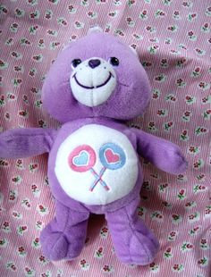 Care Bear Share Bear Plush Toy Pretty purple Share Bear Care Bear Size From top of herear to bottom of foot - Approximately Inches This wonderful little Care Bear is Care Bears Stuffed Animals, Bear Toy, Teddy Bear, Care Bears Plush, Good Ole, Childhood Toys, Plush Dolls, Pet Toys, Rainbows