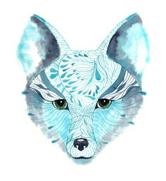 WINTER DISCOUNT - Blue Fox Face animal face drawing print, size 8x10 (No. 13). $19.00, via Etsy.