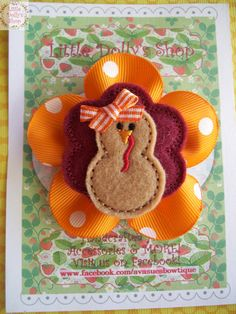 Thanksgiving Turkey Embroidered Felt Applique by LittleDollysShop, $4.25