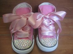 PINK BLING CONVERSE High Tops Size Infant/Toddler 2 - Youth 3 with Swarovski Crystals