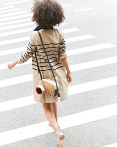J.Crew classic with a twist: the striped trench. We added navy stripes and interior details like a pretty bandana-inspired lining for that little extra je ne sais quoi.