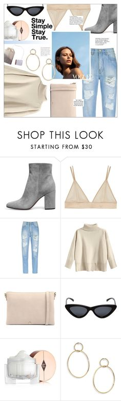 """""""Stay Simple. Stay True."""" by mafaldamf ❤ liked on Polyvore featuring Kiki de Montparnasse, Amapô, Le Specs, Charlotte Tilbury and Jules Smith"""