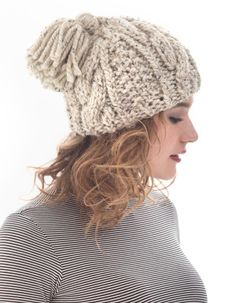 Lion Brand® Wool-Ease® Thick & Quick® Cabled Tassel Hat #knit #pattern